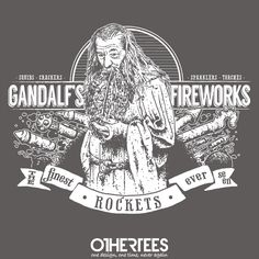 """Gandalf's Fireworks"" by Azafran Shirt on sale until 27 June on othertees.com Pin it for a chance at a FREE TEE! #lotr #lordoftherings #gandalf #hobbit #tolkien"