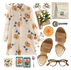 POSTCARD [Tag] by ftrees on Polyvore featuring Paul & Joe, Urban Outfitters, Oliver Peoples, Trademark Fine Art and Dot & Bo