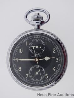 Scarce Hamilton Model 23 Vintage Military Chronograph Black Dial Pocket Watch
