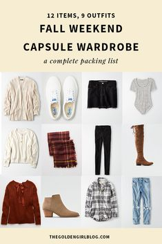 Sharing a few fall weekend capsule wardrobe staples! Whether you're planning a short cabin getaway or a 5 day road trip, you'll be able to remix these essentials into endless outfit combinations! Girls Weekend Outfits, Weekend Getaway Outfits, Fall Outfits, Weekend Packing, Capsule Wardrobe Women, Capsule Outfits, Girls Wardrobe, Wardrobe Ideas, Wardrobe Staples