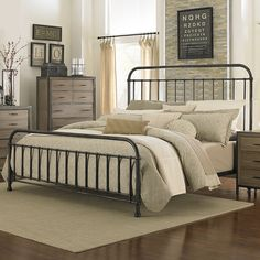 Shady Grove Iron Bed by Magnussen Home | Metal Iron Panel Headboard Footboard Complete Bed $859