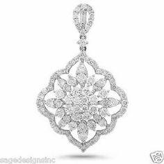 2.33 CT 18K White Gold Round & Baguette Diamond Fancy Drop Pendant