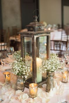 Simple, chic lantern and baby's breath centerpiece