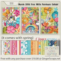 Free-With-Purchase at GingerScraps for the month of March! A collaboration by our GingerScraps Designers that is full of bright colors, and an adorable Alpha pack! The collab will be automatically added to your cart when you spend $10.00 or more in the GingerScraps shop. It Comes With Spring; http://store.gingerscraps.net/GingerBread-Ladies-Collab-It-Comes-With-Spring.html. 03/04/2016