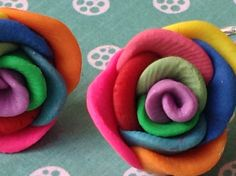 Rainbow Rose Clip On Earrings made from polymer clay and sterling silver. on Etsy, $7.00 AUD