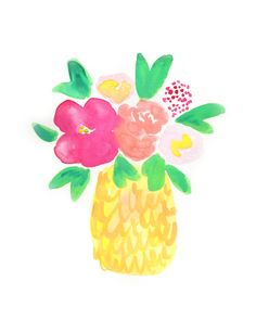 Watercolor Pineapple Blooms Art Print | Wall Art | Pineapple Print | Pineapple Hibiscus Flower | Beachy | Seaside | Tropical Art | Tropical wall art | Beach Home Decor | Boho | Bohemian | Beach Wedding | Pineapple Art