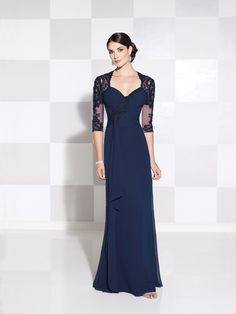 Cameron Blake - Chiffon and lace slim A-line gown with illusion and lace three-quarter length sleeves, Queen Anne neckline, lace appliqué asymmetrically trims ruched bodice with cascading ruffle at ri