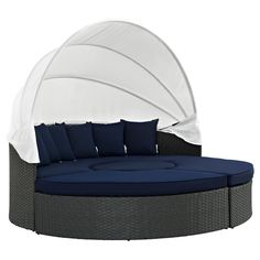 Sojourn Outdoor Patio Sunbrella Daybed in Canvas Navy (Blue) - Modway