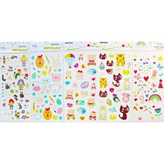 Grashine long last and look liketemporary tattoos 5pcs children cartoon in one package, it's including love bears,cats,rabbits,rainbows,flowers,stars,heart,etc. fake temp tatto stickers * You can get more details by clicking on the image. (This is an affiliate link) #TemporaryTattoos