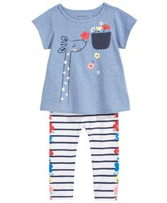 First Impressions Giraffe-Print Tunic & Striped Leggings Separates, Baby Girls, Created for Macy's Baby Girl Fashion, Toddler Fashion, Toddler Outfits, Kids Outfits, Kids Fashion, Leggings Outfit Fall, Baby Girl Leggings, Toddler Leggings, First Impressions Baby Clothes