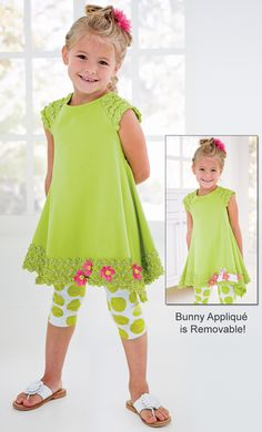 From CWDkids: Bunny Capri Set. ~ All in the details! Cute Little Girls Outfits, Boys And Girls Clothes, Little Dresses, Little Girl Dresses, Frocks For Girls, Cute Dresses, Girls Dresses, Young Girl Fashion, Toddler Fashion