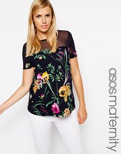 ASOS Maternity Top In Floral Print With Sheer and Solid Detailing
