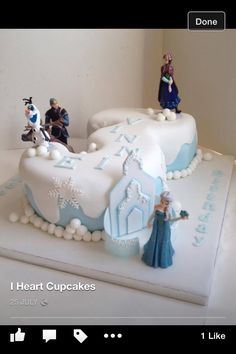 Frozen 3rd Birthday, Girls 3rd Birthday, 3rd Birthday Cakes, Birthday Ideas, Frozen Theme, Frozen Cake, Frozen Party, Number 3 Cakes, Anna Cake