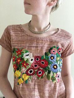 Linen tee with hand embroidered garden