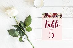 DIY Printable Pink and Burgundy Watercolour Floral Wedding Table Number   Calligraphy Script   Wedding Stationery and Table Decorations
