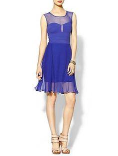 BCBGMAXAZRIA Miranda Pleated Silk Mini Dress