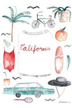 Hübsch illustriertes Poster für das California Feeling zuhause / pretty illustration for a californian lifestyle at home made by gretasschwester via DaWanda.com