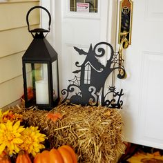 Halloween House - Metal Art - Holiday Decor - Fences Art Halloween Scary Art - 18 x 17 inches / Sunshine Yellow