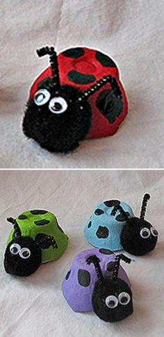How to Make Egg Cartons Ladybug - DIY & Crafts - Handimania Summer Camp Crafts, Camping Crafts, Spring Crafts, Bug Crafts, Diy Crafts For Kids, Arts And Crafts, Spring Projects, Craft Projects, Egg Box Craft