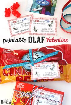 It's so easy to put together this Valentine featuring everyone's favorite snowman, Olaf from Disney's FROZEN! Free printable tags at www.sisterssuitcaseblog.com