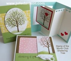 January Stamp of the Month Club: Stampin' Up! Sheltering Tree cards #stampinup #occasions www.juliedavison.com