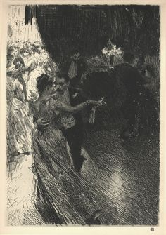 "Andres Zorn is a well known 19th century painter, but I think his prints far surpass his paintings and are under-appreciated. Many painters of this time also made etchings or other prints of their paintings. I believe this etched version of ""The Waltz"" is much more successful than the (rather fussy) painted version."