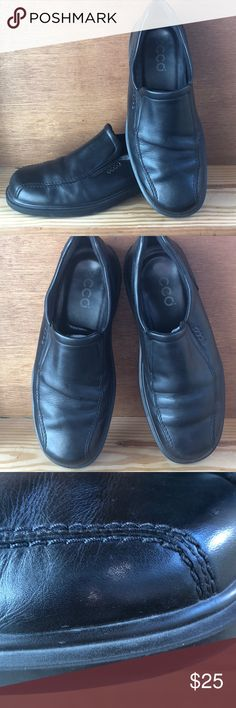Black leather Ecco slip on sz 43 Good used condition black Ecco slip on. Size euro 43  These shoes are like walking on a cloud. Comfort is amazing! Ecco Shoes Loafers & Slip-Ons