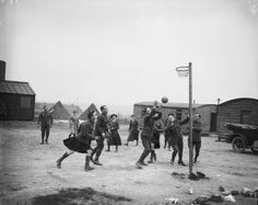 The WAACs in France undertook to invite parties of convalescent soldiers to their camps to play games in their spare time in order to help their recovery. WAACs and convalescent soldiers playing basketball at Etaples, 1 May 1918