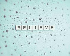 Pastel Blue Believe Starry Sky Stars Whimsical Print Mint Blue Nursery Decor Dreamy Scrabble Letter Tiles, 8 x 10 Fine Art Print