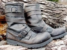 FREE SHIPPING // Vintage Black Combat Boots w/ by VintageCountyUSA, $140.00