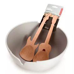 美国 KIKKERLAND 创意吉他造型高档原木沙拉餐具套装木质勺子-淘宝网