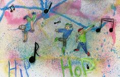 I showed them pictures of people dancing in different styles and talked about gesture. It is colored pencil figures and words painted over with mod podge for a mask. The background is spray bottles of water and tempera paint. Wipe paint off with wet paper towels. 4th grade