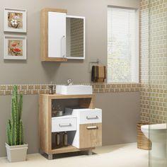 Este conjunto para banheiro, é ideal para ambientes pequenos, além de compacto, possui cores claras que proporcionam a sensação de amplitude ao cômodo. ;)     #decoração #design #madeiramadeira