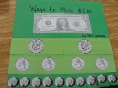 On the inside, the students describe the coins and write how to make a dollar using the coins on the flap. It is great for coin recognition as well as counting money. *ON TPT WISHLIST*