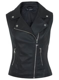 Black Faux Leather Gilet from Miss Selfridge. European styled zipper with the classic biker/rocker vest!