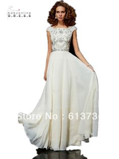 Free Shipping Flamboyant A Line High Scoop Neck Floor Length Ivory Chiffon Beaded Prom Dresses Long 2014 With Cap Sleeves $159.00