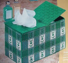 plastic canvas - tissue box and paper holder