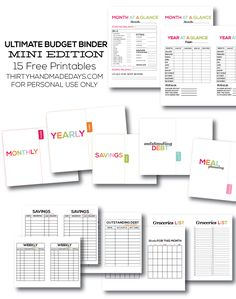 The Ultimate Printable Budget Binder, MINI Edition - featuring 10+ amazing printables from www.thirtyhandmadedays.com for personal use only