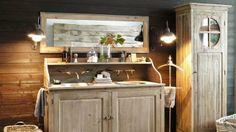 Idée déco salle de bain : ambiance vacance // http://www.deco.fr/diaporama/photo-la-salle-de-bains-sur-un-air-de-vacances-46054/salle-de-bains-campagne-654968/