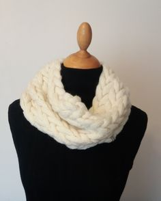 Off White/Ivory Hand Knitted Wool Blend Chunky Snood / Scarf / Infinity Scarf / Chunky Cowl / Neck warmer or Hood /  Ready to ship. by MixAndMatchBoutique on Etsy