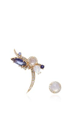 Right Butterfly Earrings With Pearl Rosette by ANNA SHEFFIELD for Preorder on Moda Operandi