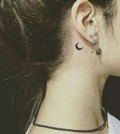 women moon tattoo behind ear