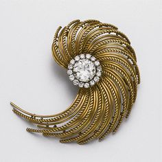 Gold and diamond brooch, circa 1950