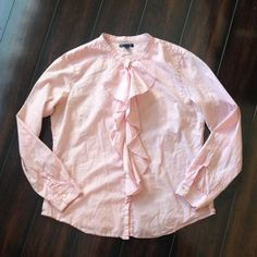 Gap Ruffled Button Down Shirt Great condition! Light pink with darker pink stripes. No holes, stains, or rips. Great for Spring! GAP Tops Button Down Shirts