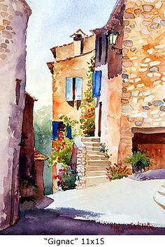 Gignac, 11x15, by Maria Gabrielle, watercolor