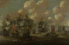 Peter van de Velde   Naval Battle in the Sound near Elsinore (Helsingnør) between the Dutch and Swedish Fleets, 8 November 1658, Peter van de Velde, 1670 - 1679   Zeeslag bij Elseneur in de Sont tussen de Hollandse en de Zweedse vloot, 8 november 1658. Tussen de oorlogsschepen verschillende sloepen en wrakken van gezonken schepen. Op de achtergrond kasteel Kronborg.
