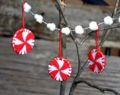 Peppermint Christmas Ornaments Felt Handmade  found at:  Hellosprout.etsy.com