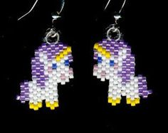 Unicorns and Rainbows Beaded Earrings Throw Back to by FoxyMomma