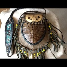 OOAK REAL TURTLE SHELL PURSE OOAK VINTAGE REAL TURTLE SHELL, HAND BEADING, BEADS, LEATHER, SUEDE, FRINGE AND LEATHER CHEROKEE PURSE Bags