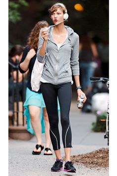 Cool headphones like Karlie Kloss' are the new workout must-have.   - HarpersBAZAAR.com